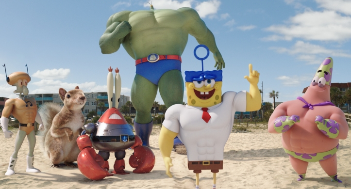 Left to right: Squidward Tentacles (as Sour Note), Sandy Cheeks (as The Rodent), Mr. Krabs (as Sir Pinch-A-Lot), Plankton (as Plank Ton), SpongeBob SquarePants (as The Invincibubble), and Patrick Star (as Mr. Superawesomeness) in THE SPONGEBOB MOVIE: SPONGE OUT OF WATER, from Paramount Pictures and Nickelodeon Movies. SB2-FF-065